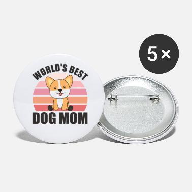 Sit Worlds Best Dog Mom - Dog Corgi Vintage Sunset - Small Buttons