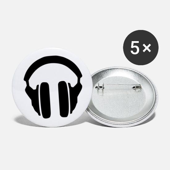 Song Buttons - Music Headphones Song Present Gift Black - Small Buttons white