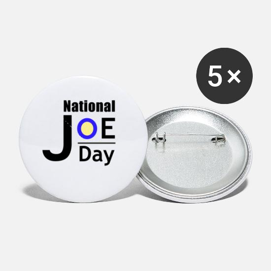 Day Buttons - National Joe Day Lettering - Small Buttons white