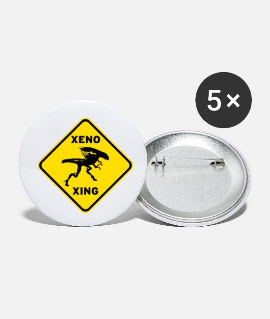 Bishop Buttons & Pins - Xeno Xing - Small Buttons white