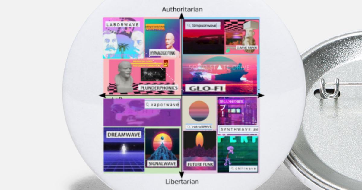 Vaporwave Political Compass Meme Aesthetic Small Buttons | Spreadshirt