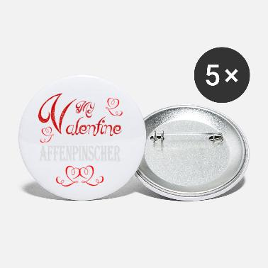 Romantic A romantic A romantic Valentine with my Affenpinsc - Small Buttons