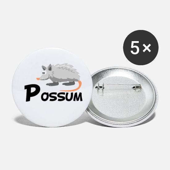 Opossum Buttons - Cartoon Opossum - Small Buttons white