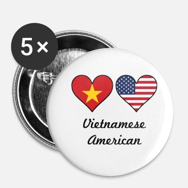 Vietnamese Vietnamese American Flag Hearts - Small Buttons