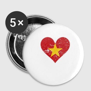Distressed Vietnamese Flag Heart - Small Buttons