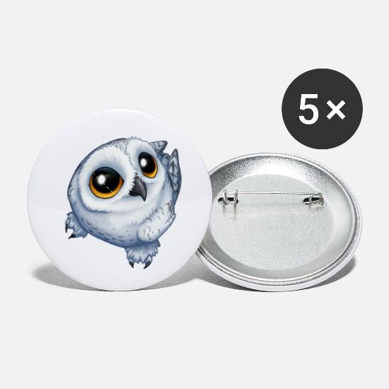 Owl Buttons - Snow Owl - Small Buttons white