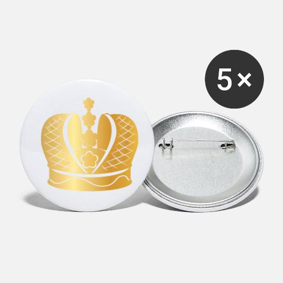 Rapper Buttons - Royal golden crown king prince monarch - Small Buttons white