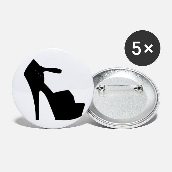 Woman Power Buttons - Vector high heels shoes Silhouette - Small Buttons white