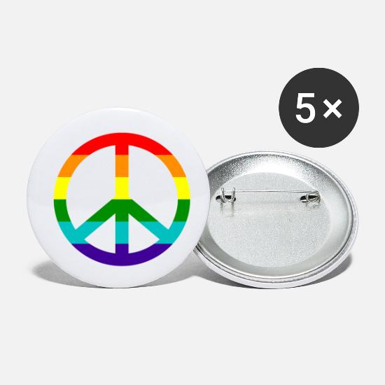 Gay Pride Buttons - Gay pride rainbow peace love and happiness - Small Buttons white