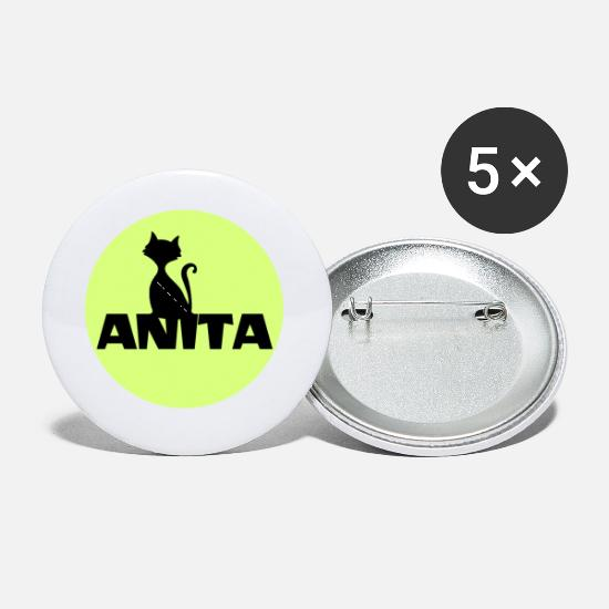 Birthday Buttons - Anita name firstname - Small Buttons white
