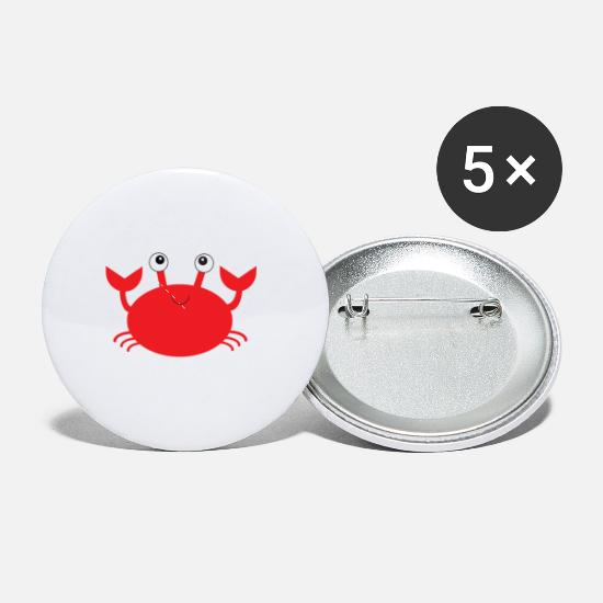 Crab Buttons - Happy Crab - Small Buttons white