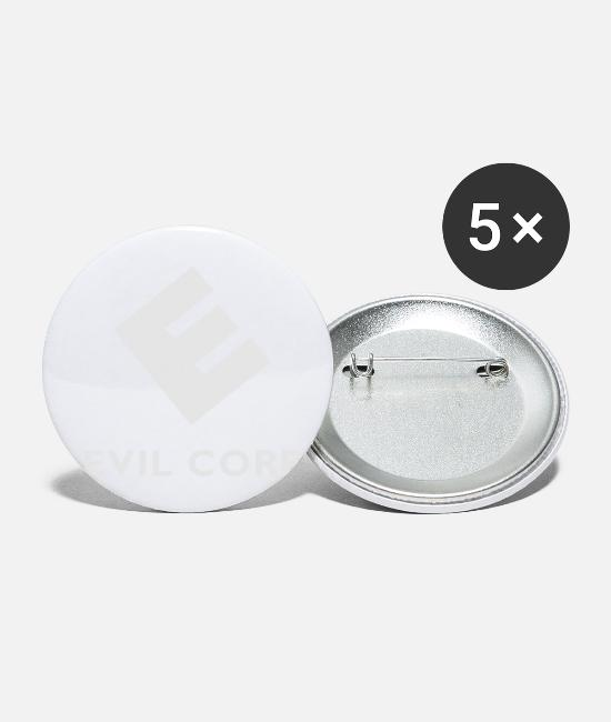 Industry Buttons & Pins - Evil Corp - Small Buttons white