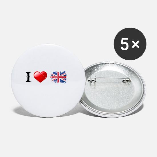 Heart Buttons - I love Great Britain/England! gift idea - Small Buttons white