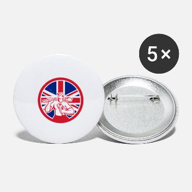 United Kingdom British Drainlayer Union Jack Flag Icon - Small Buttons