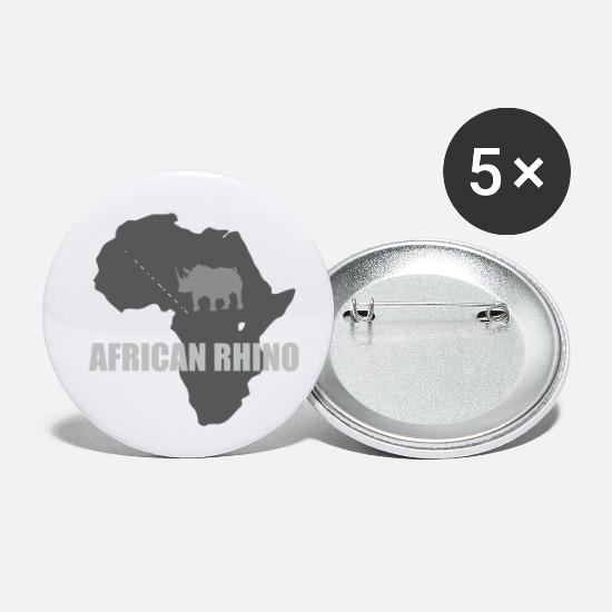 Maps Buttons - African Rhino with african map - Small Buttons white