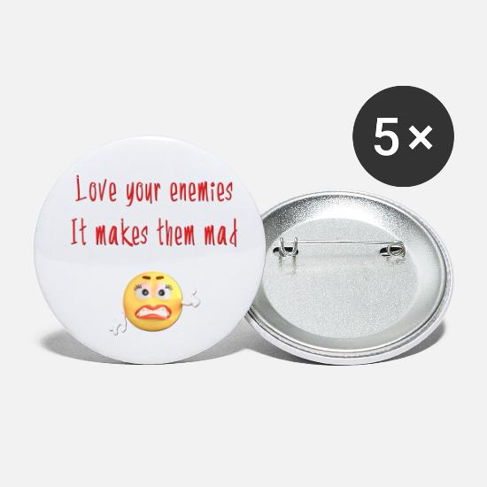 Cool Funny Christian Quotes Love Your Enemies Buttons small 1'' (5-pack) -  white