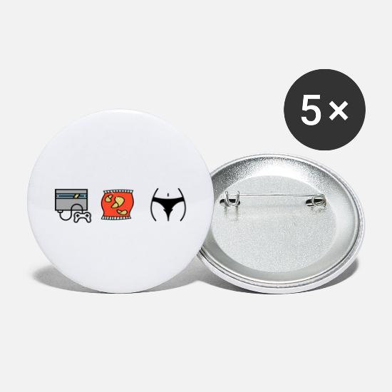 Play Buttons - Gaming chips and boobs - Small Buttons white
