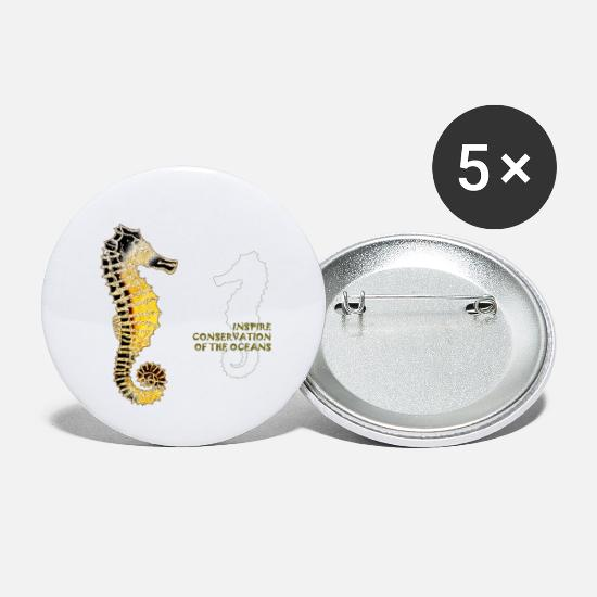 Nature Buttons - Inspire Conservation - Sea Horses - Small Buttons white