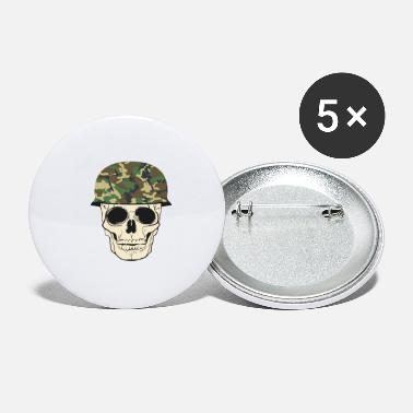 Military skull with military helmet - Small Buttons