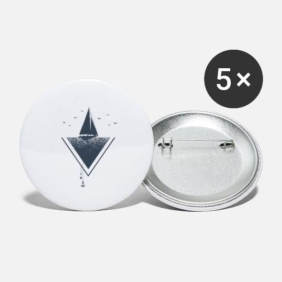Wanderlust Buttons - Sailing sail boat Freedom anchor wanderlust travel - Small Buttons white