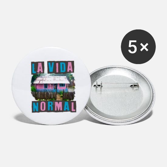 La vida Normal cuban village house normal life Buttons small 1'' (5-pack) -  white