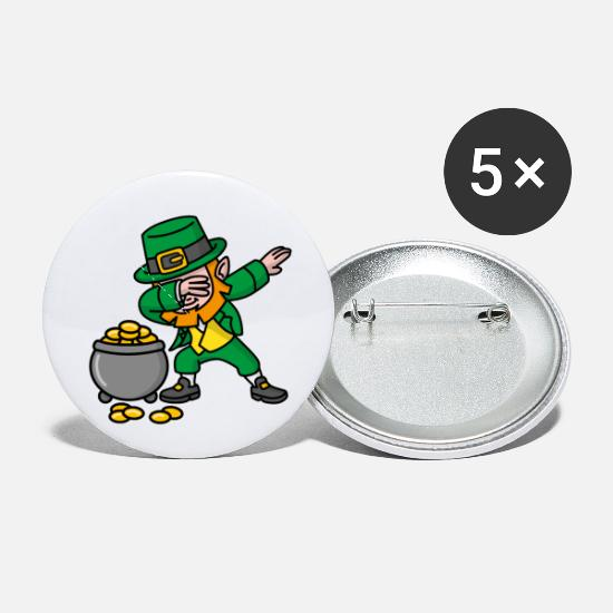 Shamrock Buttons - Dabbing Leprechaun St. Patrick's day pot of gold - Small Buttons white
