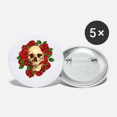 Skull Skulls flowers - Small Buttons