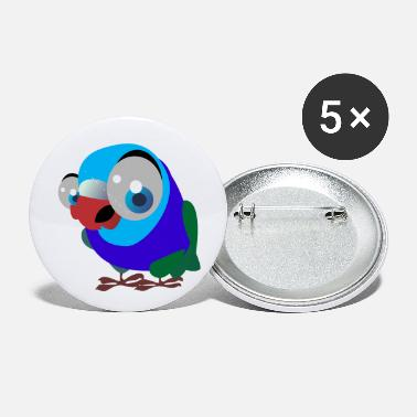 Illustration Big Eye Blue Bird Graphic Illustration - Small Buttons