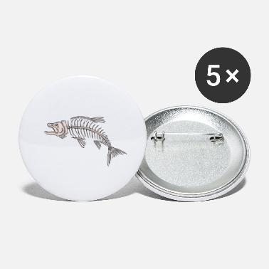 Fishing King Salmon Skeleton Drawing - Small Buttons