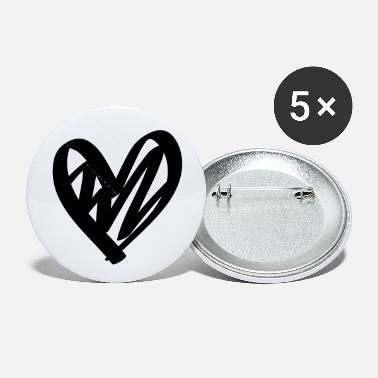 Lovely Hand drawn comic heart -love lover girlfriend cute - Small Buttons