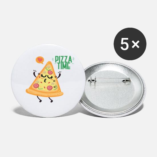 Pizza Buttons - Pizza Time Love Gift - Small Buttons white