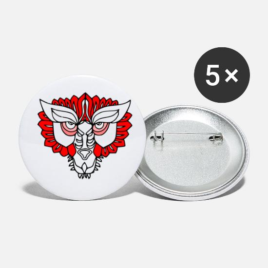 Tiger Buttons - Cool white red Tiger face design by milaino - Small Buttons white