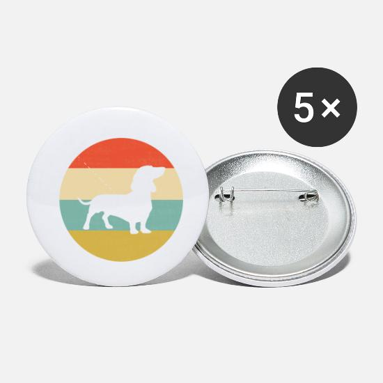 Dog Head Buttons - Dachshund dog breed vintage retro style gift - Small Buttons white