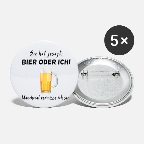 Craft Beer Buttons - Bier oder sie - Small Buttons white