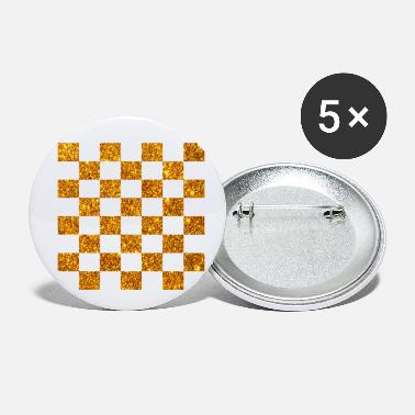Square Golden (chess checkers draughts) glitter gold in b - Small Buttons