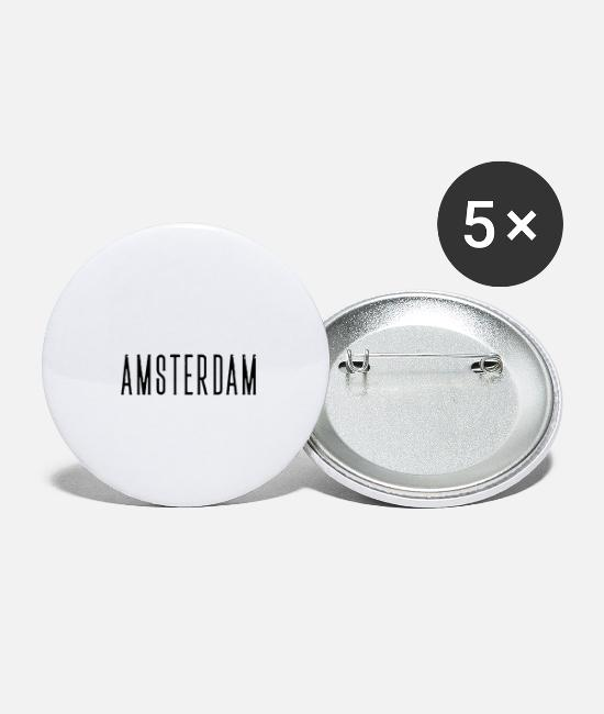Cycling Buttons & Pins - Amsterdam streched letters - Small Buttons white