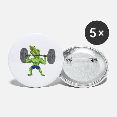 Sobek Sobek Weightlifter Lifting Barbell Caricature - Small Buttons
