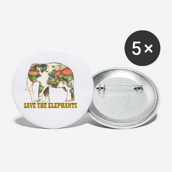 Save Buttons - Save The Elephants World Map - Small Buttons white