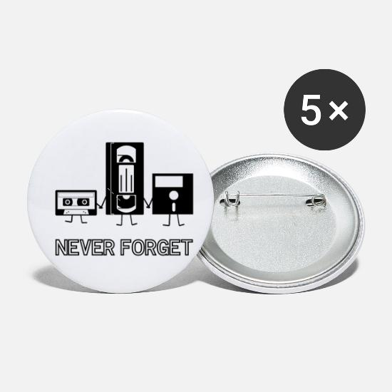 Cassette Buttons - Never forget - Small Buttons white