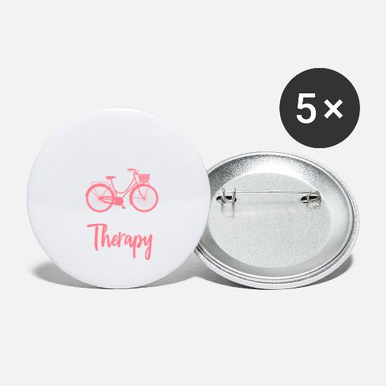 Gift Idea Buttons - Bicycling Funny Cycling Is My Therapy Gift Idea - Small Buttons white
