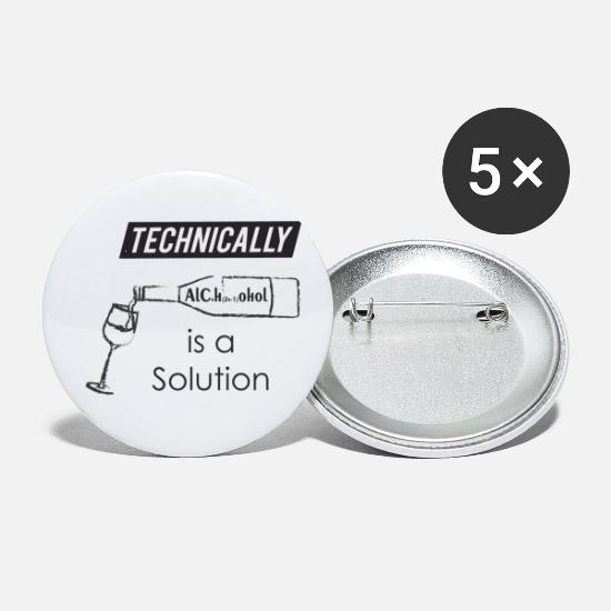 Techie Buttons - Technically Alcohol is a solution - Small Buttons white