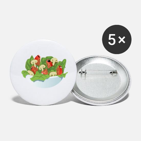 Salad Buttons - Bowl Of Salad - Small Buttons white