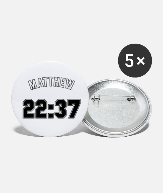 Church Buttons & Pins - Jersey Back Matthew 22:37 - Small Buttons white