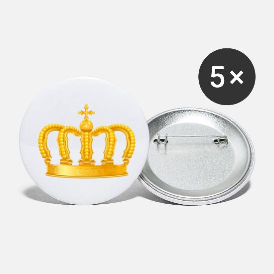 Golden Crown Buttons - Royal King golden crown vip Monarch jewel - Small Buttons white