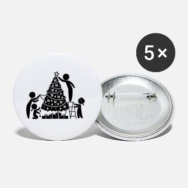 Conifer Family Under The Christmas Tree - Small Buttons