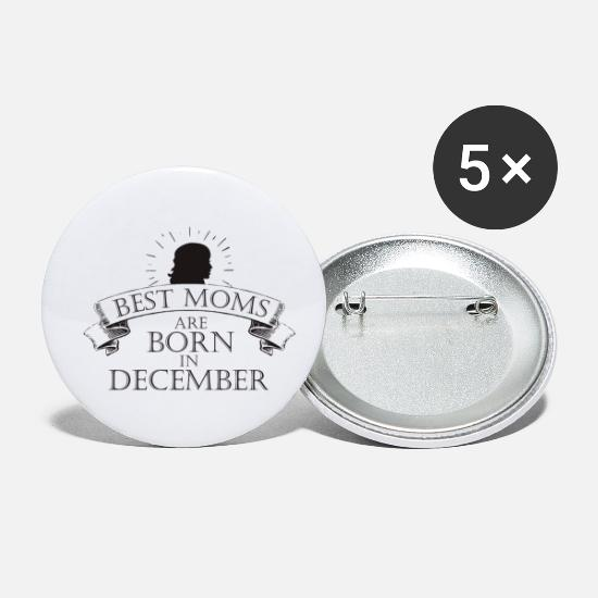 December Buttons - BEST MOMS ARE BORN IN DECEMBER - Small Buttons white
