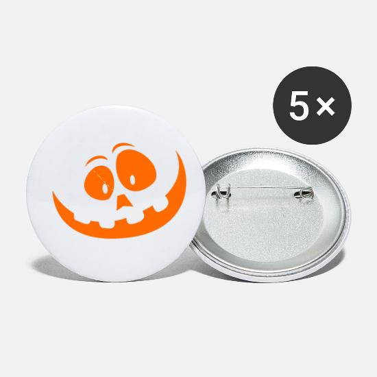 Magic Buttons - Happy Halloween - crazy pumpkin smile (orange) - Small Buttons white