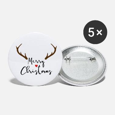 Merrily Merry Christmas Red Nose Reindeer Antler Deco - Small Buttons