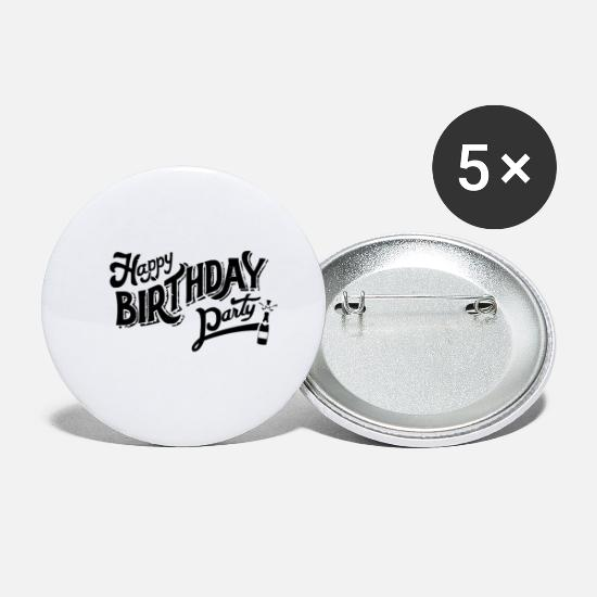 Party Buttons - Happy Birthday Party - Small Buttons white