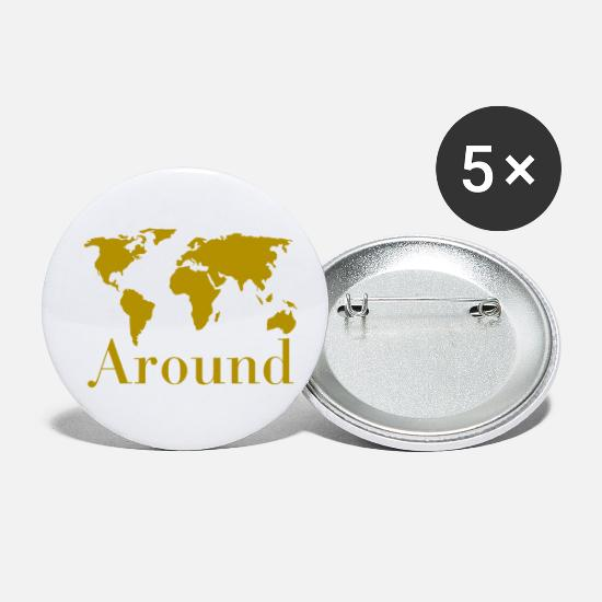 World Map Buttons - World map around - Small Buttons white